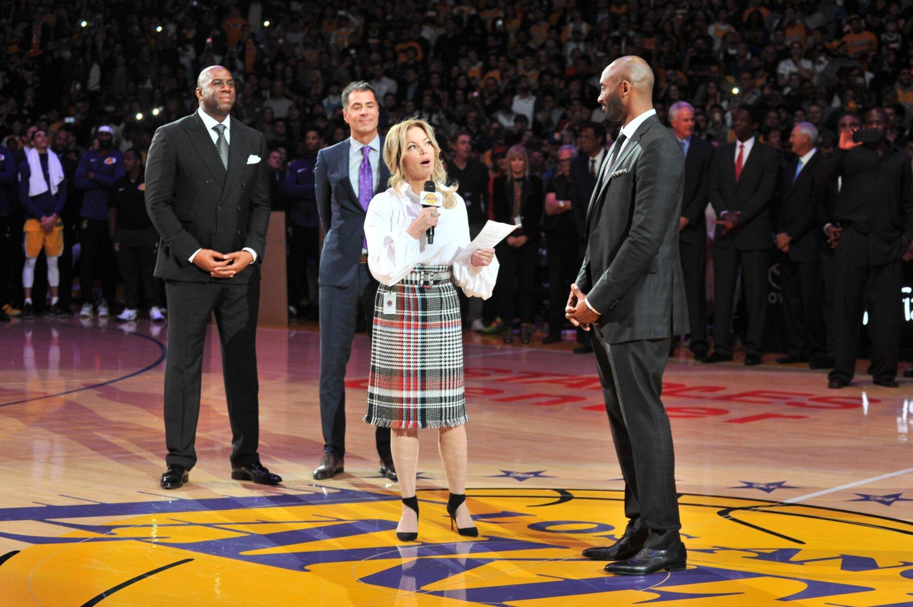Kobe Bryant, David Stern, Jerry West, Jeanie Buss - Jeanie